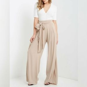 New Tags Tan Tie Wide Leg Palazzo Pant S M L XL